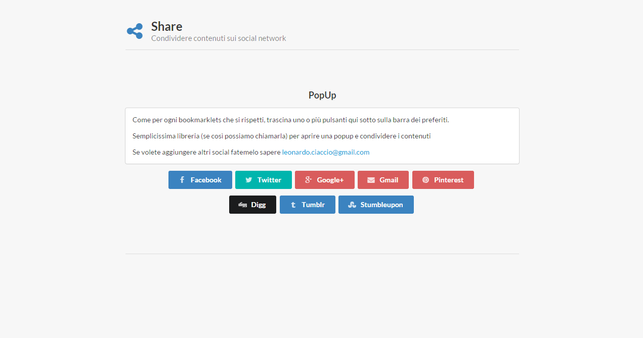 Bookmarklets for share your content on social-network