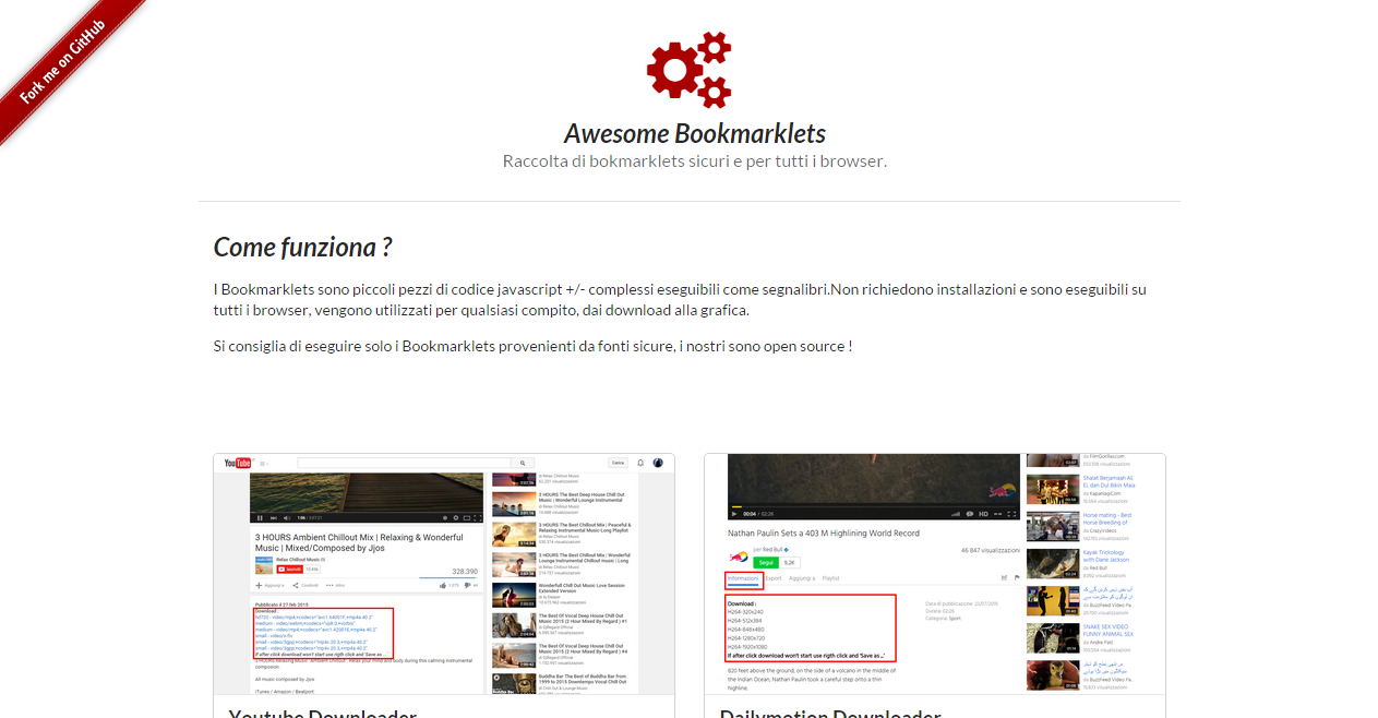Youtube Dailymotion downloader bookmarklets