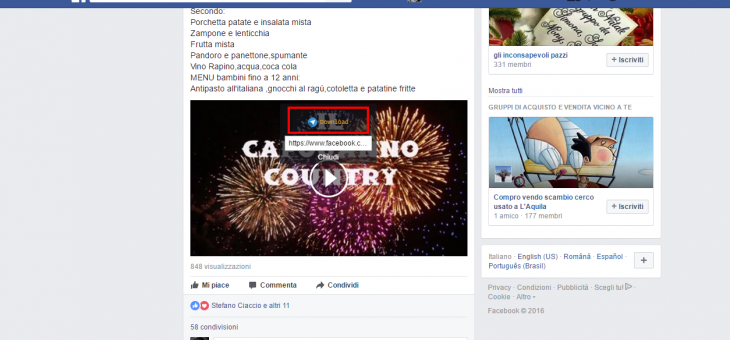 Scaricare i video da Facebook